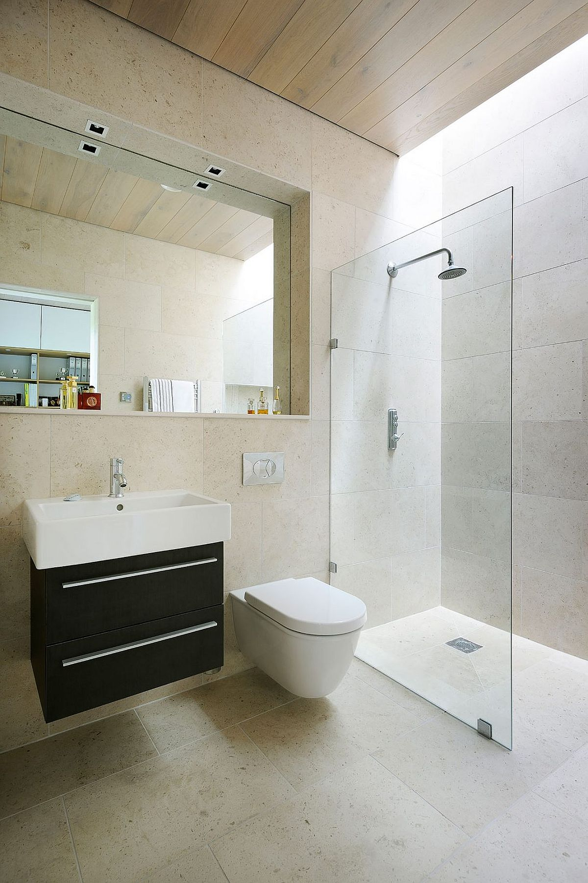 Small floating vanity and corner glass shower area for contemporary bathroom