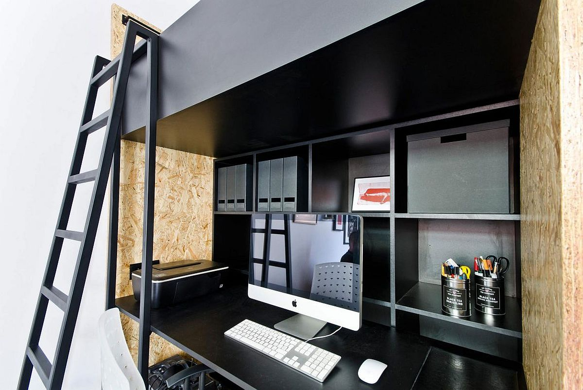 Smart home workstation design with shelf space and loft bed above