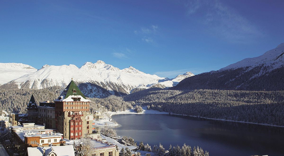 Snow-capped mountains surround the lavish Swiss hotel
