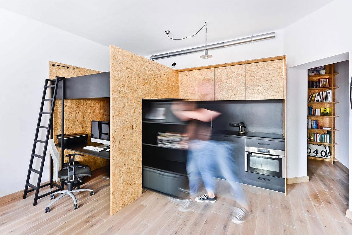 Space-savvy home design along with a design studio
