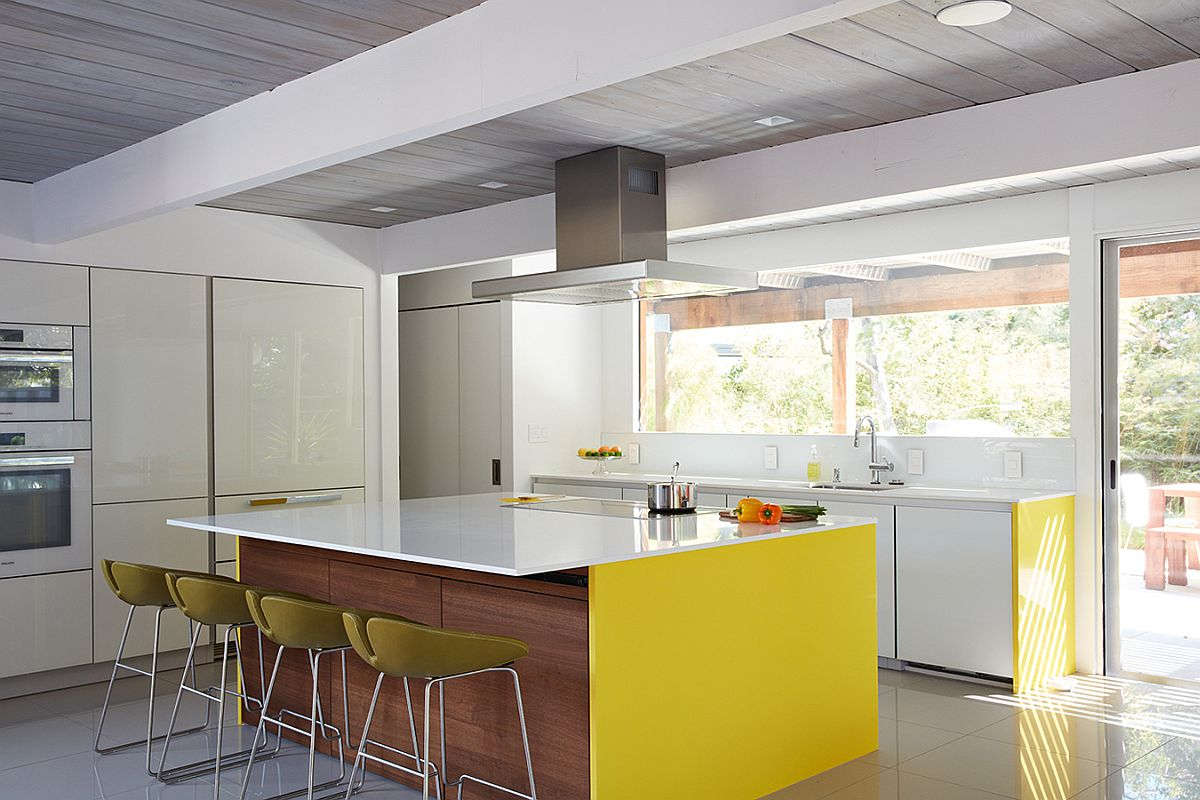 Spacious modern kitchen with a large kitchen island