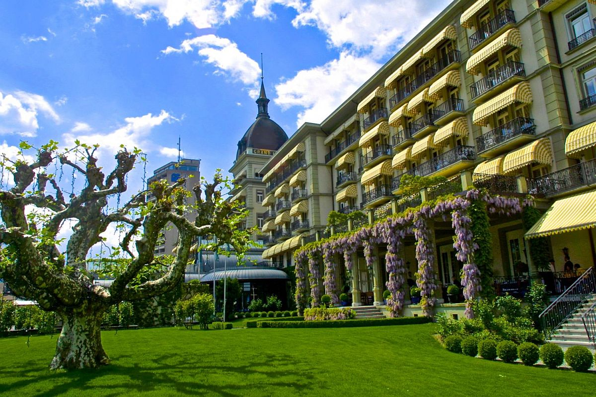 Stunning exterior of Victoria-Jungfrau Grand Hotel and Spa
