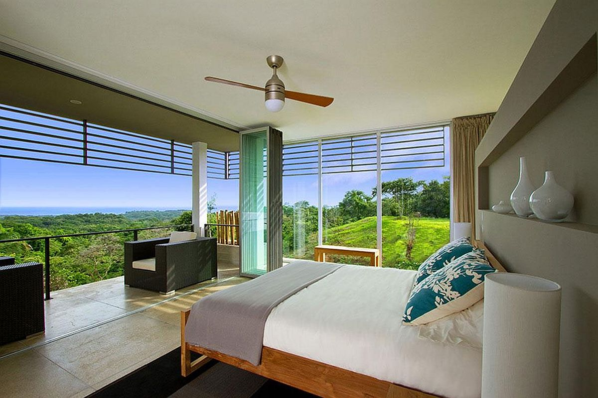 Stunning view from the bedroom of the holiday home in Costa Rica