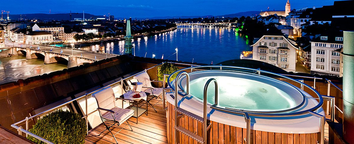 Terrace Jacuzzi at Les Trois Rois offers awesome view of Basel