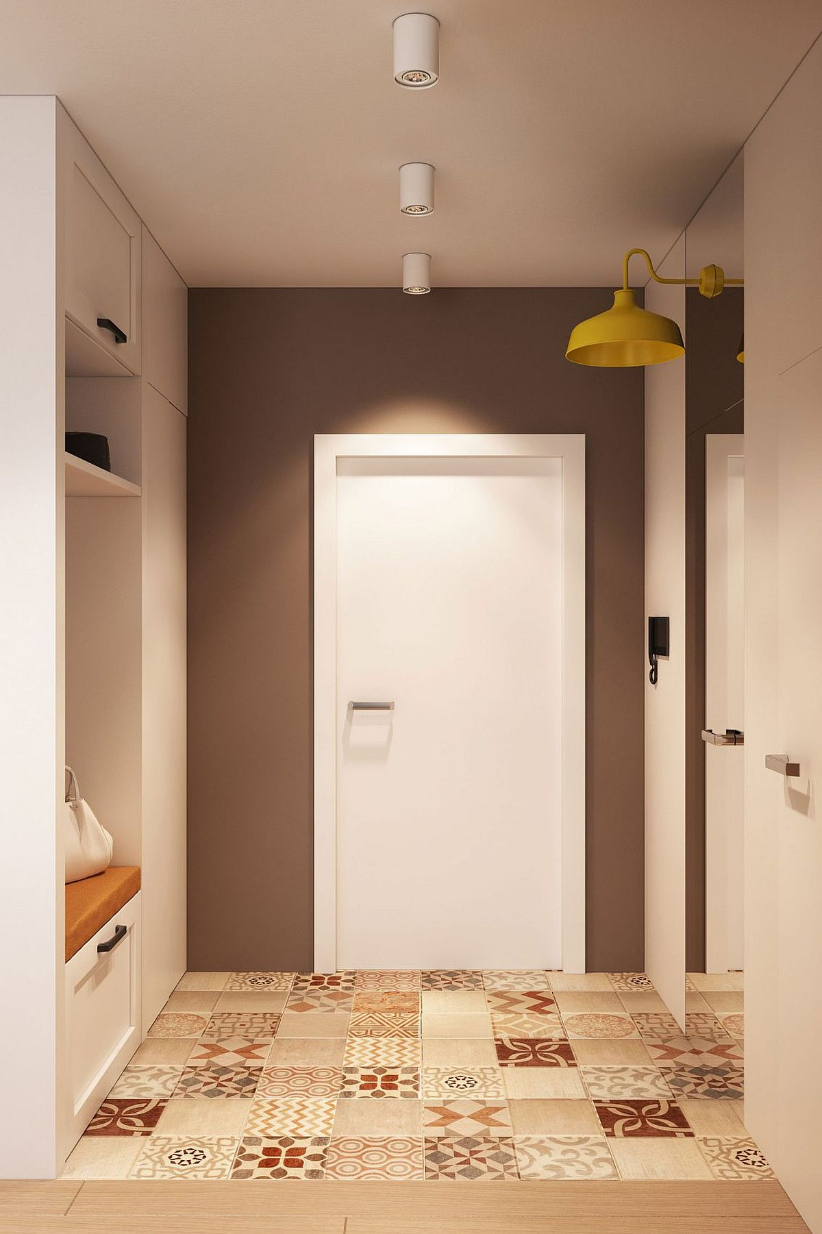 Tiles bring pattern and color to the small entry and hall