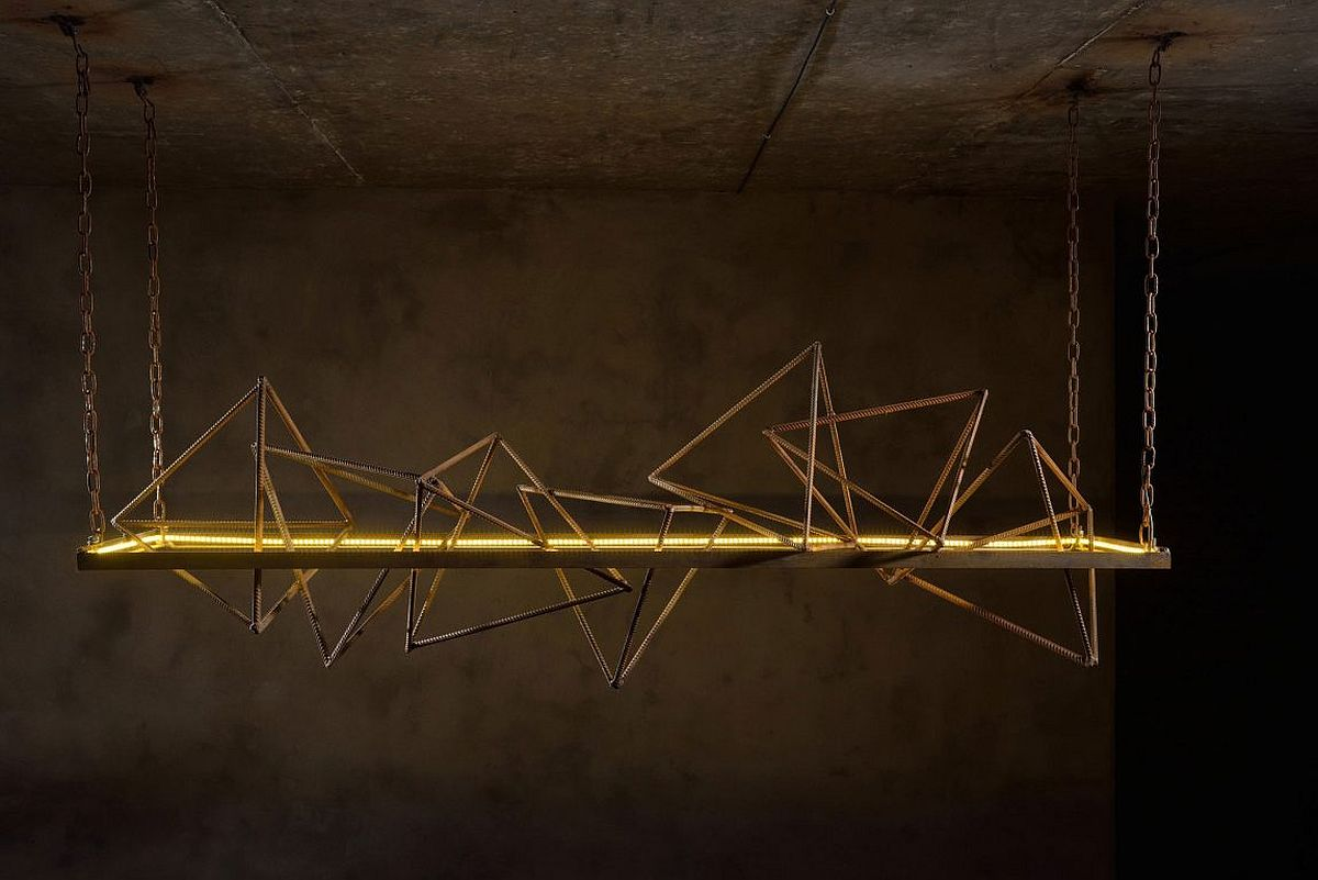 Triangular and pyramidal shapes create a stunning lighting fixture