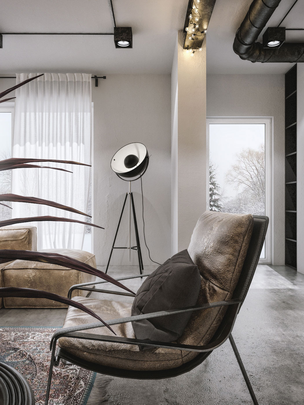 Tripod floor lamp in the corner for the industrial style living space