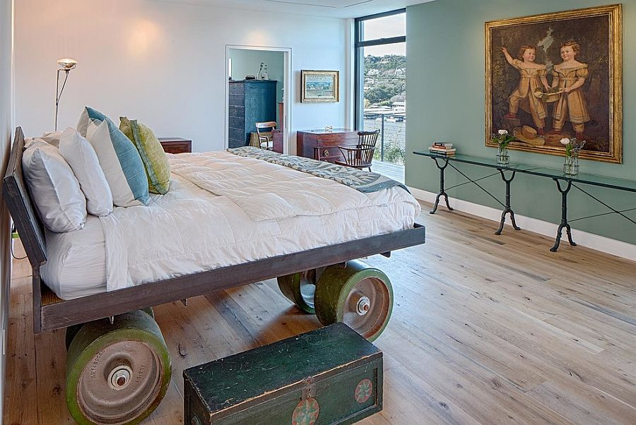Unique bespoke bed on giant wheels with industrial style