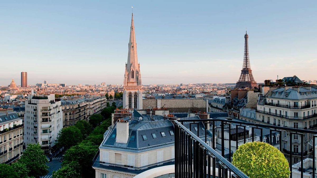 View from the penthouse of Four Seasons Hotel George V Paris
