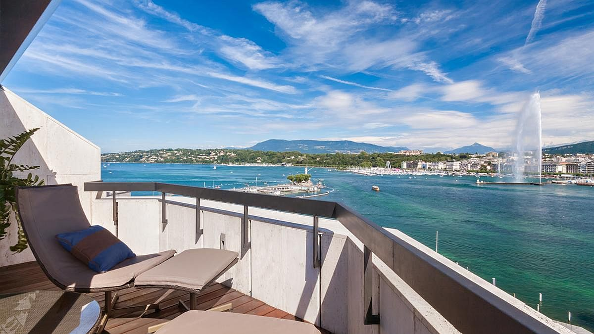 View from the terrace of the private suite at Grand Hotel Kempinski Geneva
