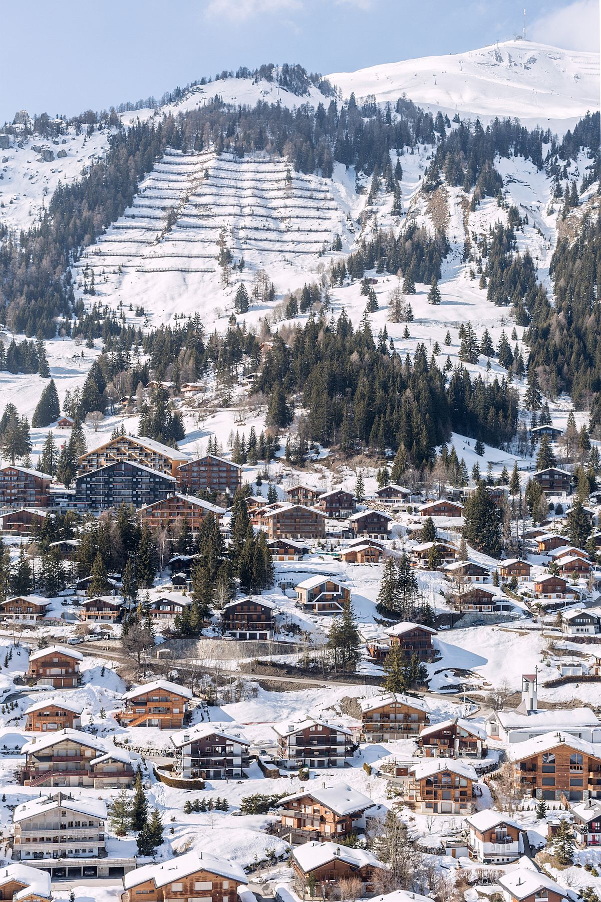 View of the snow-filled slopes with fabulous chalets