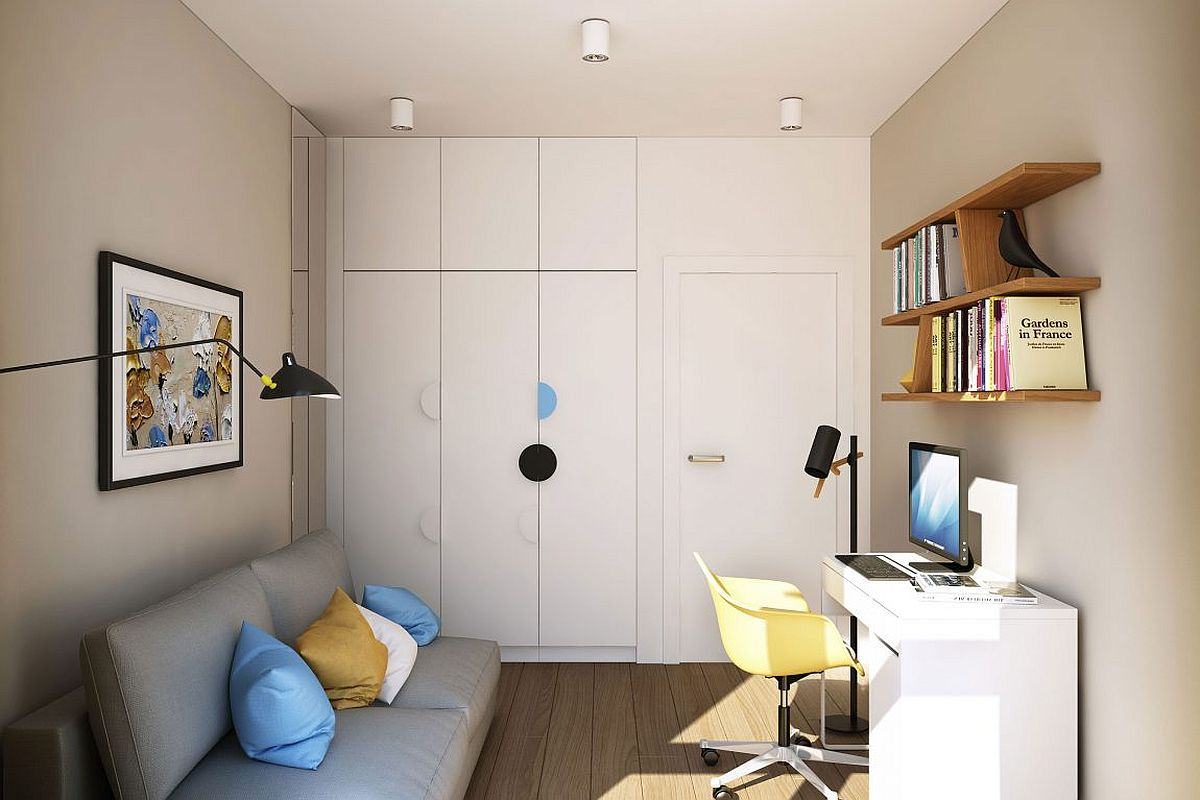 Wall of cabinets provide additional storage space and double as a wardobe