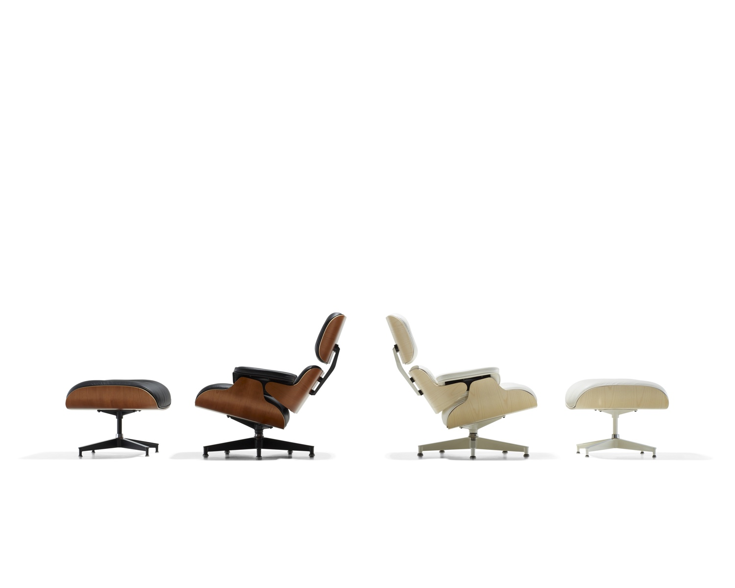 The Eames Lounge Chair and Ottoman and walnut and white ash. Image © 2016 Herman Miller, Inc.
