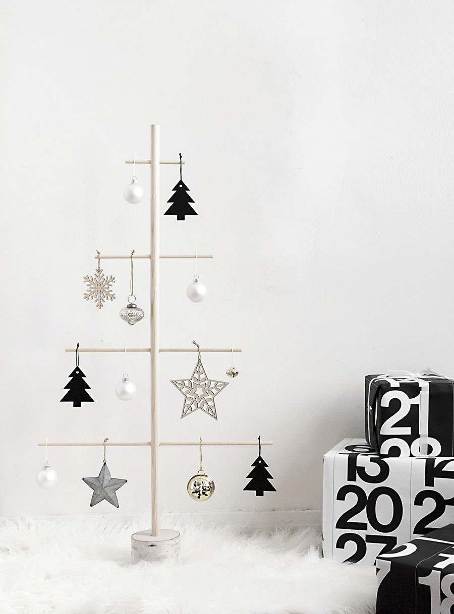 Wooden dowel tree from Homey Oh My