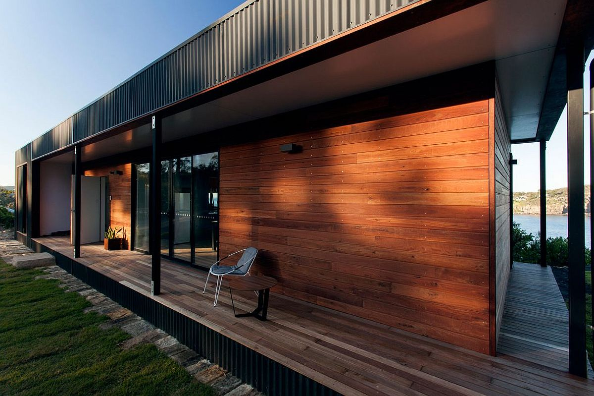 Wooden exterior of the modular home in Australia