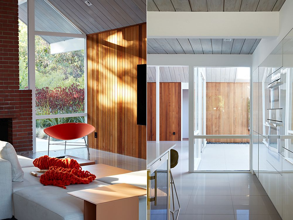 Wooden siding and pops of orange bring contrast to the interior
