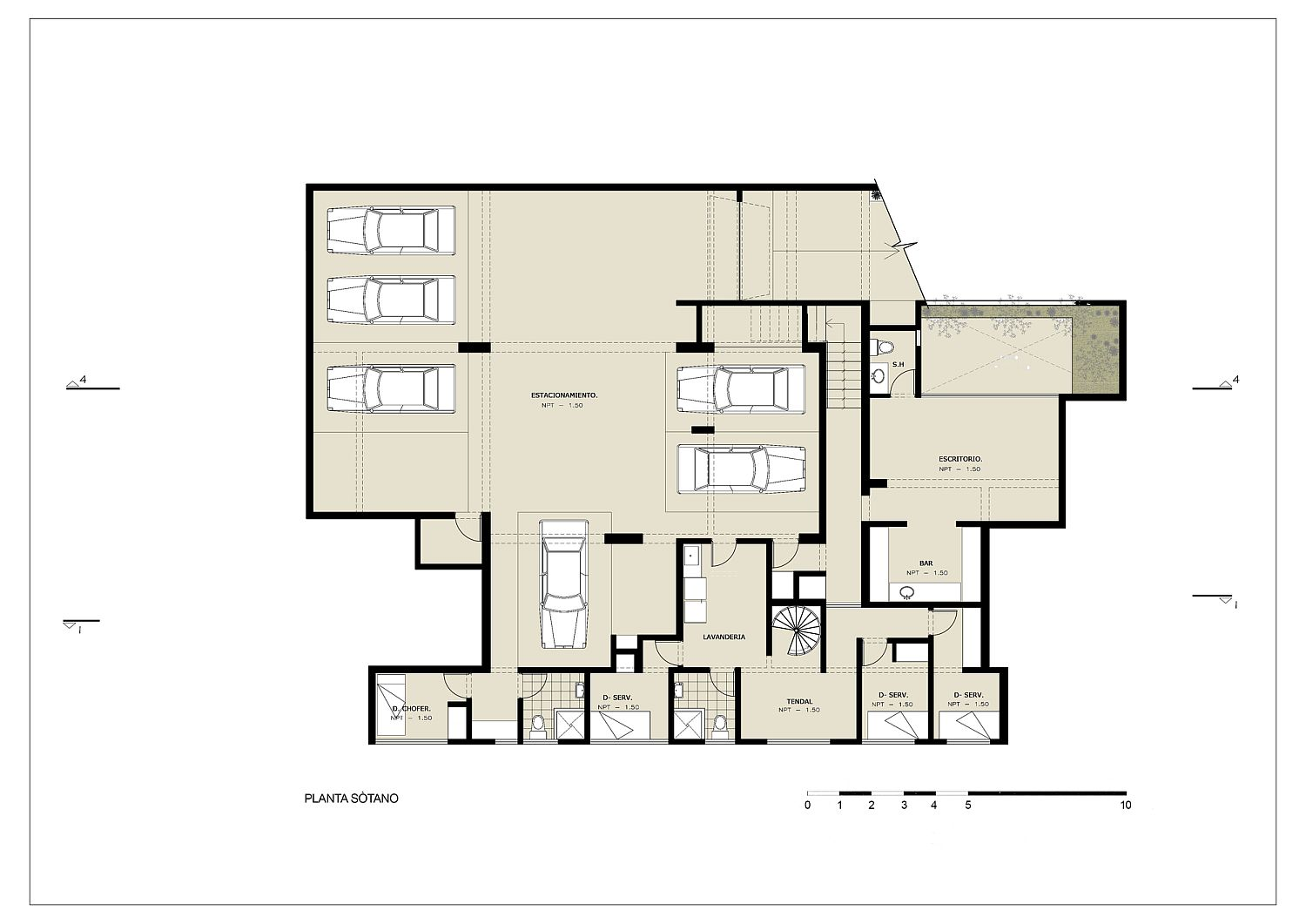 Basement floor plan of House M with ample parking space