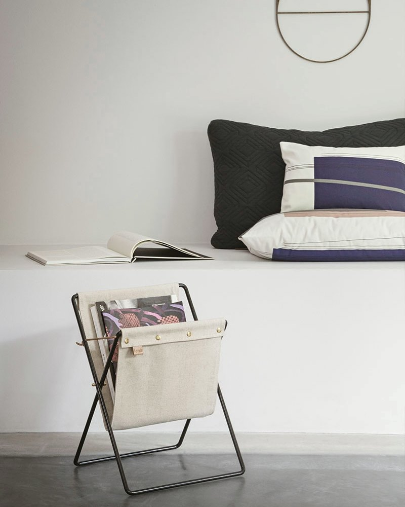 Canvas magazine stand from ferm LIVING