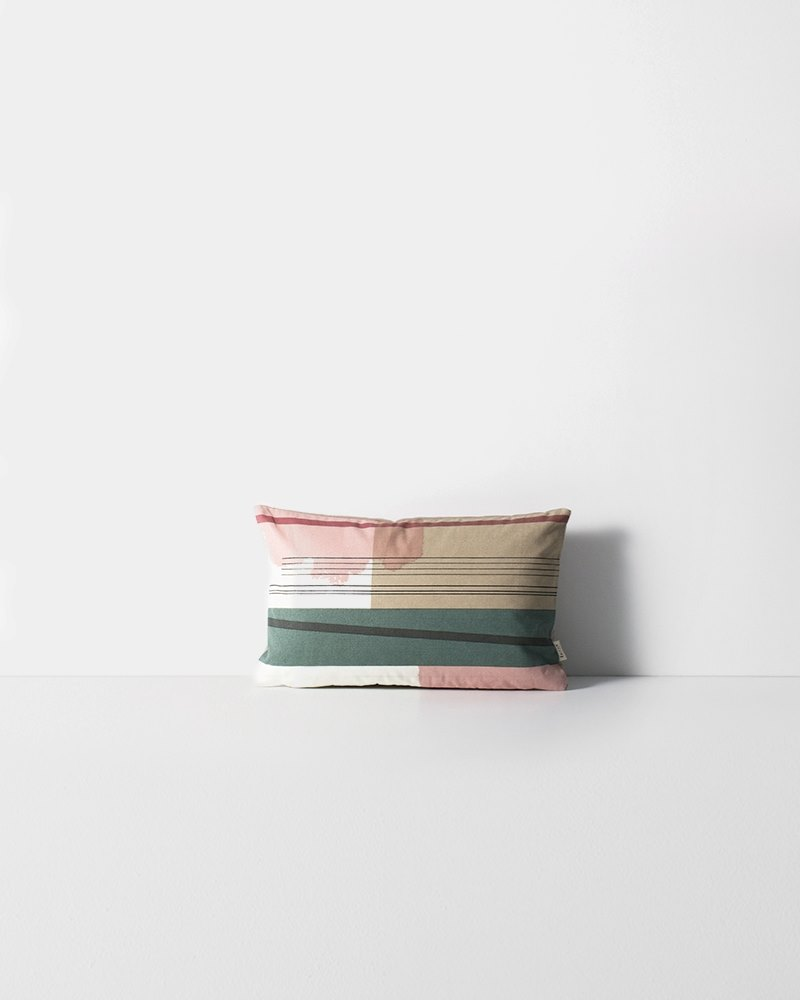 Colorblocked pillow with beige