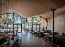 Contemporary style coupled with wooden warmth at beautiful beach restaurant 217x155 Inspired by the Art of Origami: Creative Beach Club Restaurant in Luxembourg