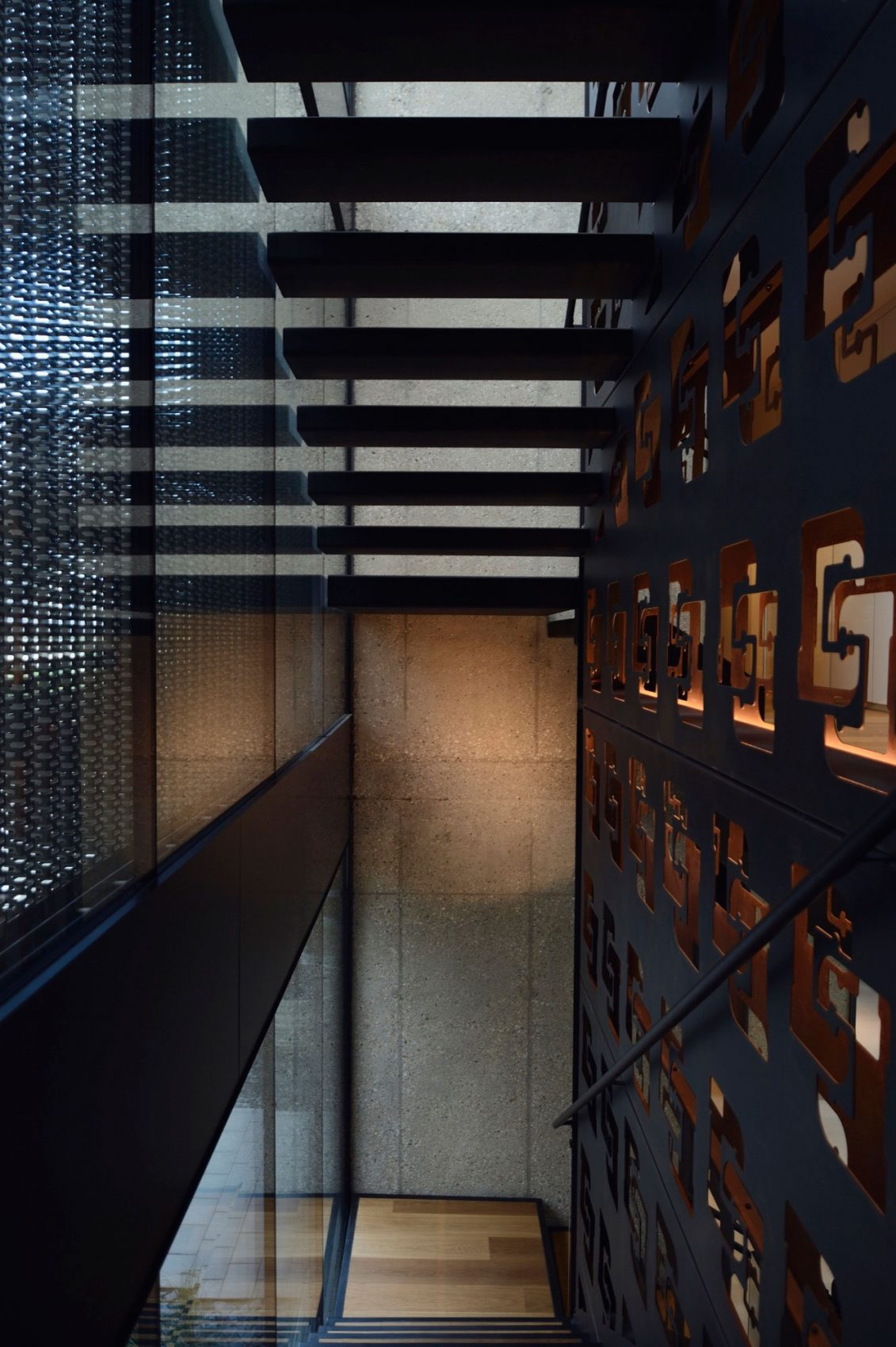 Dark stairwell in black