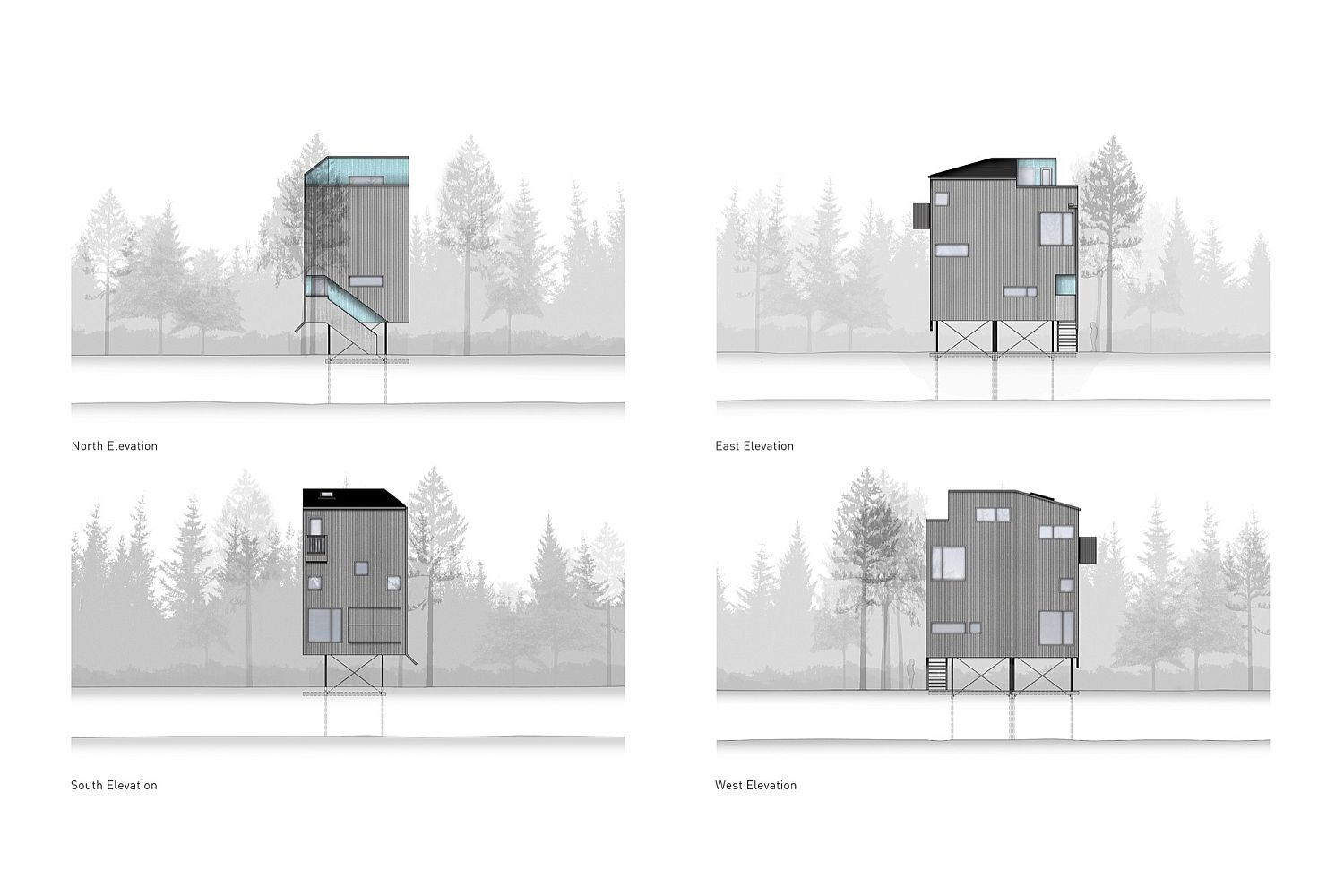 Different elevations of the Pole House in Canda