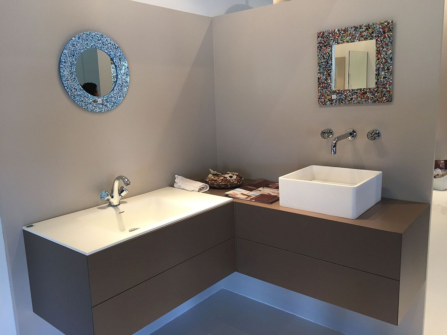 Vanity Contemporary Bathroom Cabinets Turn to the Corner