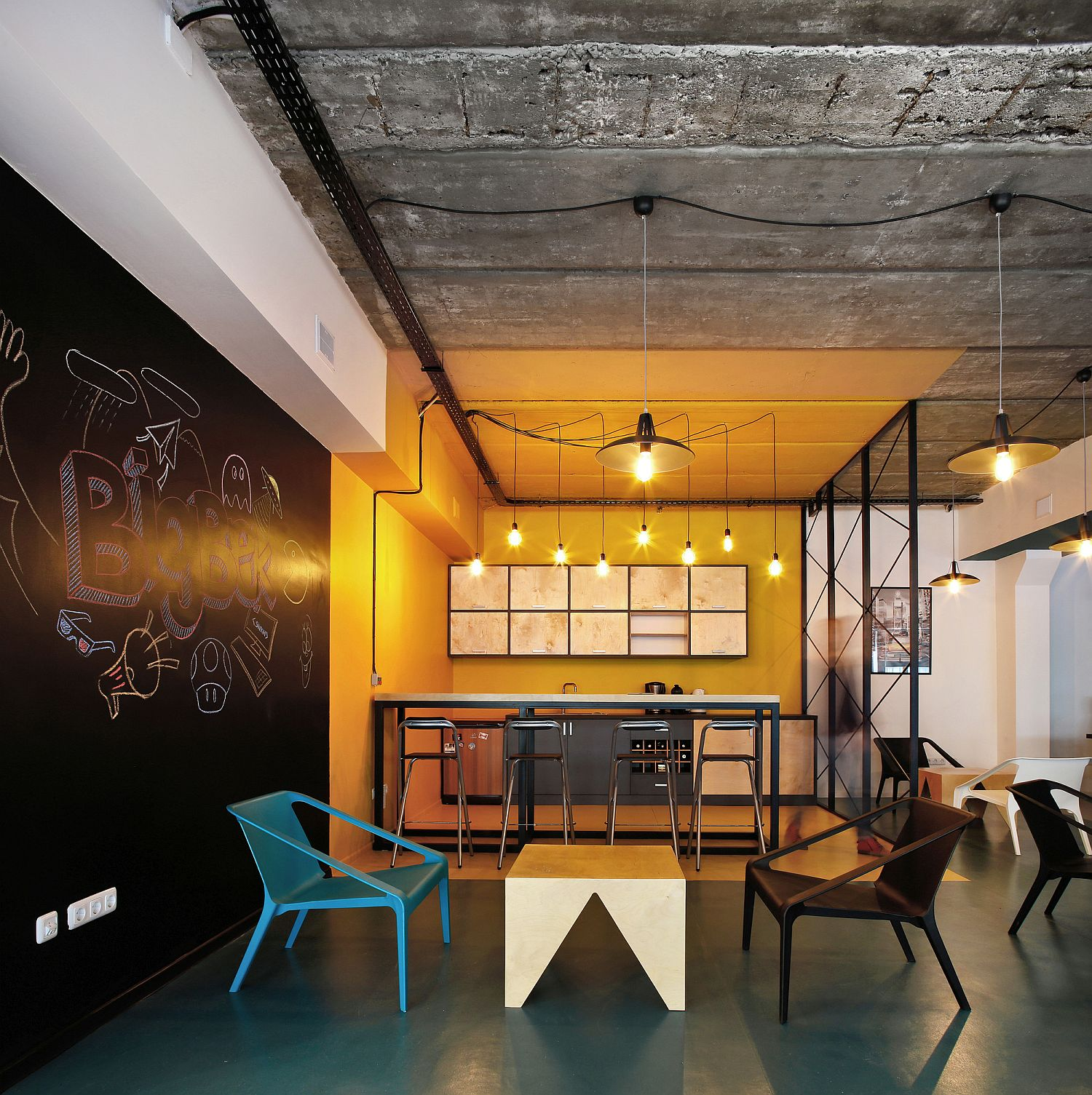 Industrial Office Design a world of color and creative design: modern industrial office in