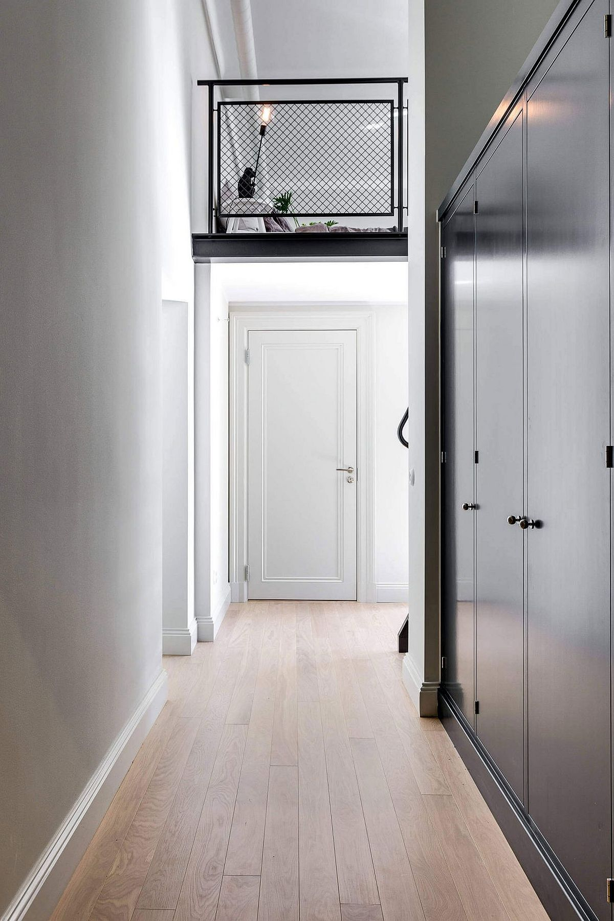 Entry to the modern Scandinavian apartment in Stockholm