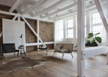 Exposed brick walls and white walls give the interior a natural relaxing feel 217x155 Natural Materials and Exposed Brick Walls Bring a Hint of New York to Berlin!