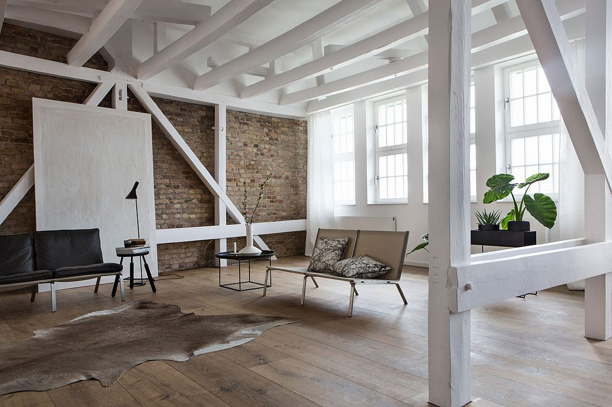 Exposed brick walls and white walls give the interior a natural, relaxing feel