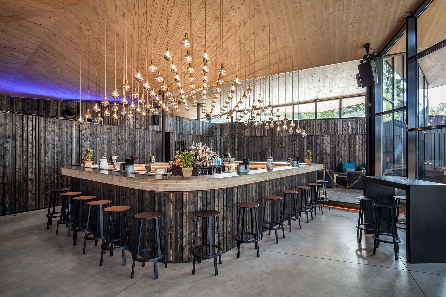 Fabulous lighting adds sparkle to the bar at the Boos Beach Club Restaurant