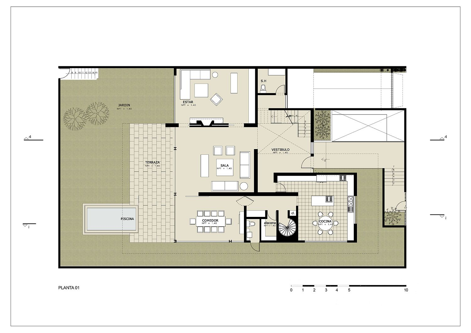 First level floor plan of contemporary home in Lima with rooftop garden and living areas