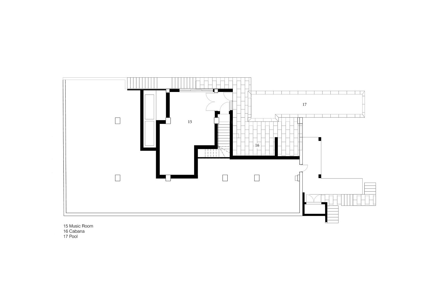 Floor plan of the music room and the pool