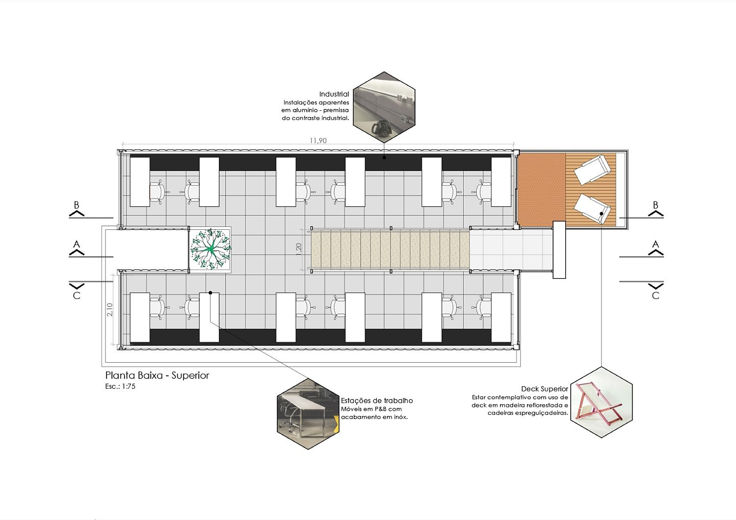 Floor plan of the office space crafted from containers