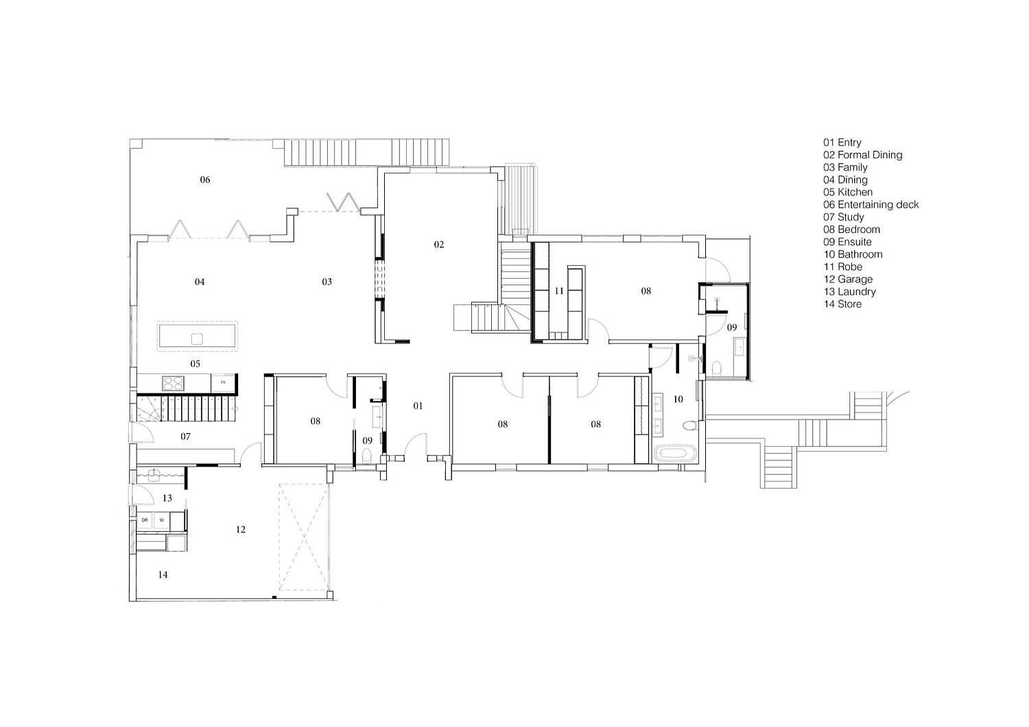 Floor plan of the revamped 1970s home in Australia