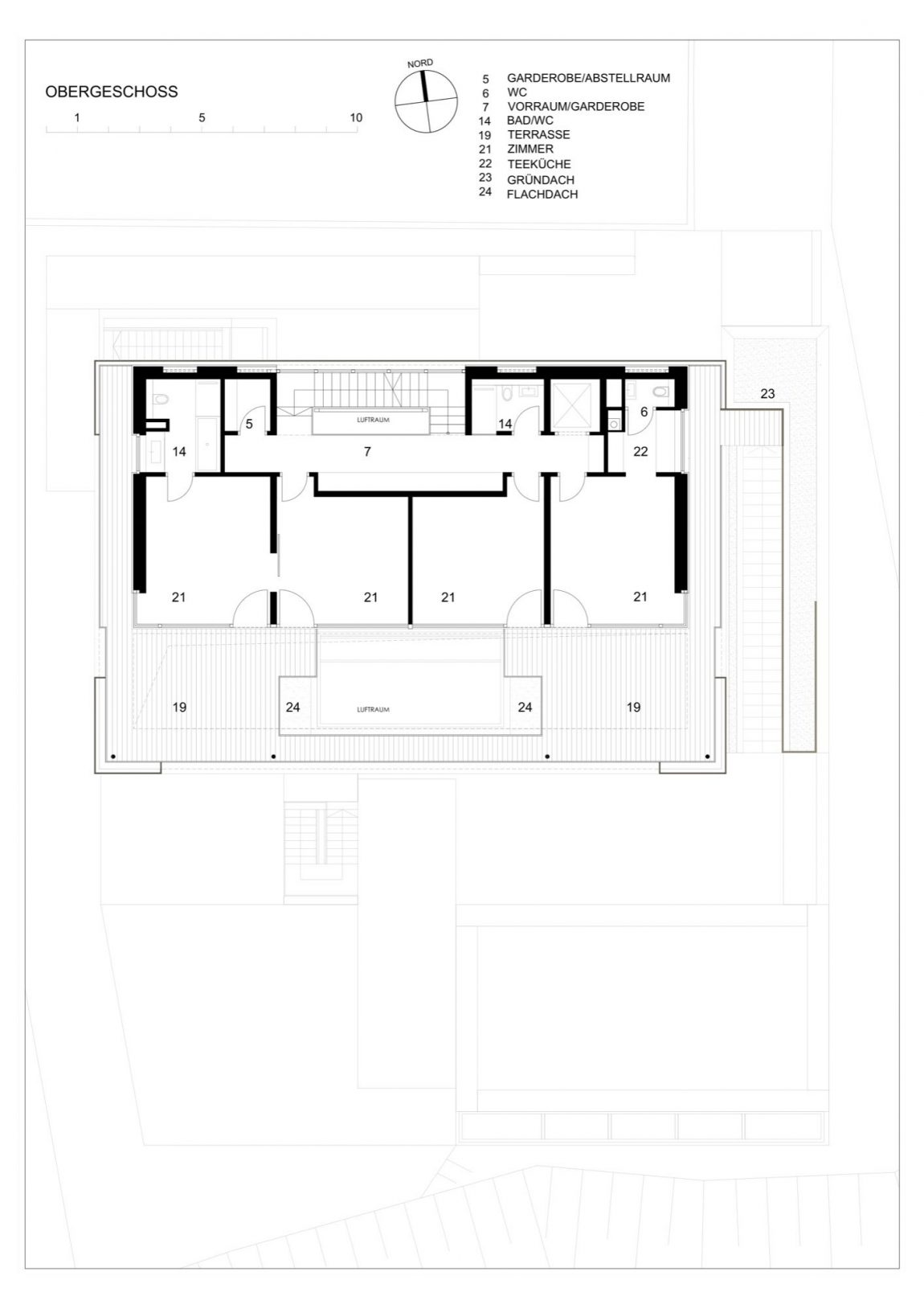 Floor plan of the third level with private spaces