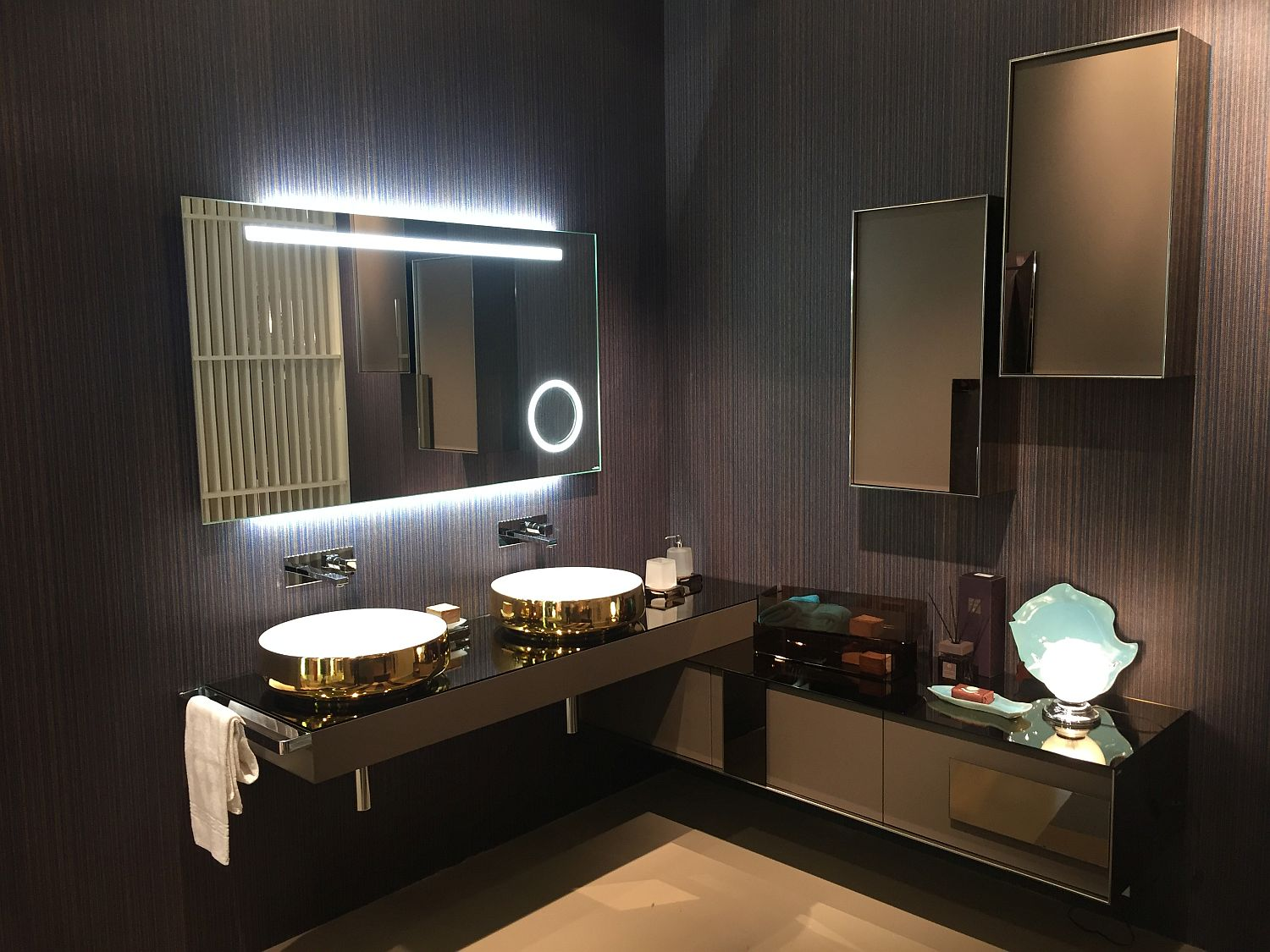 bathroom savvy space mirrored and vanities style vanity with glamarous hint designs of contemporary gold finish exquisite a corner