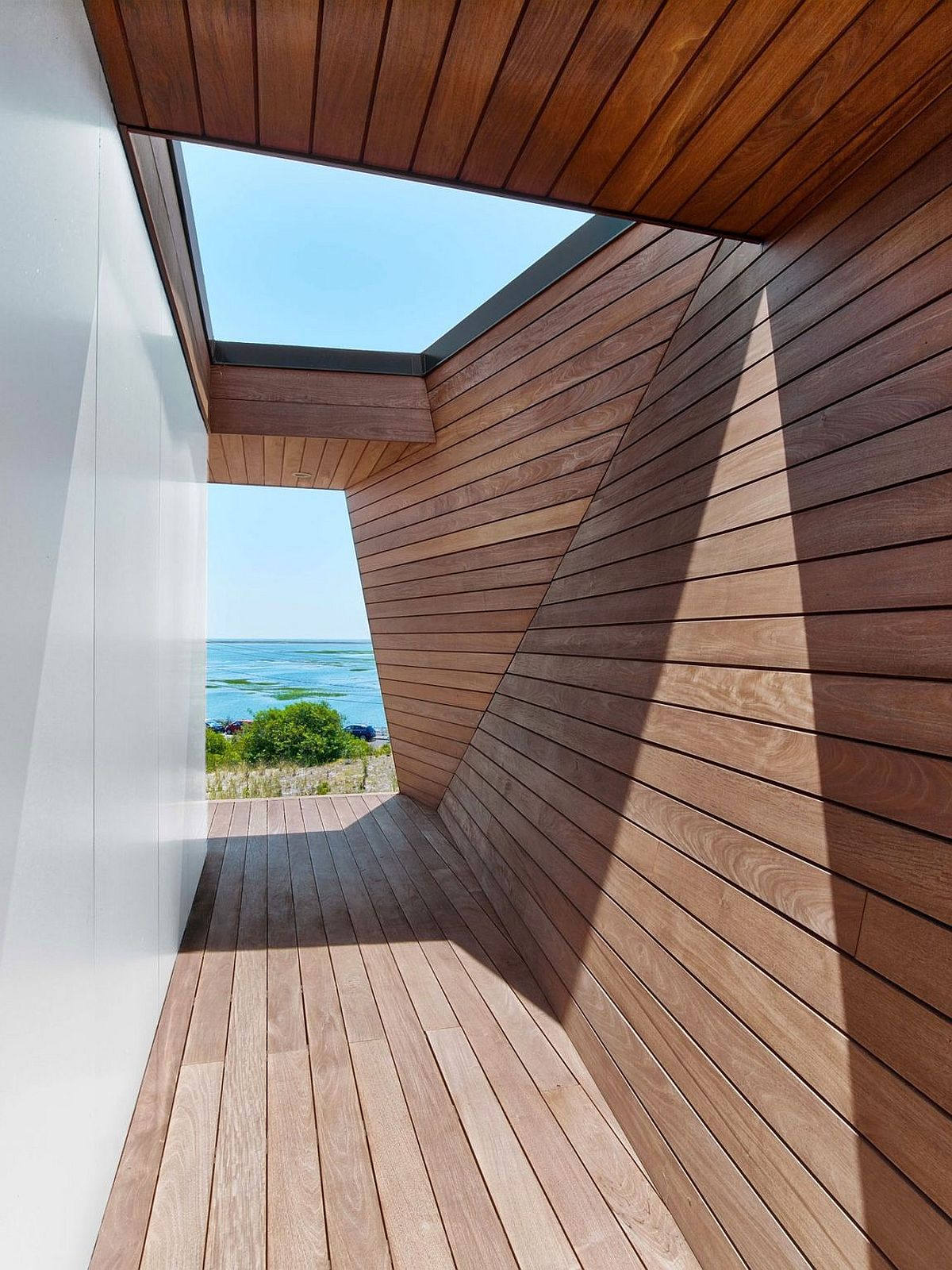 Glass skylight brings extra natural light into the beach house