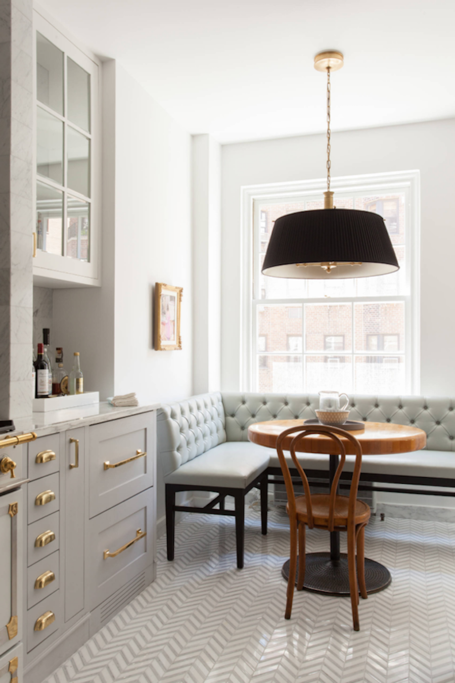 Gray banquette channeling the look of a serene cafe