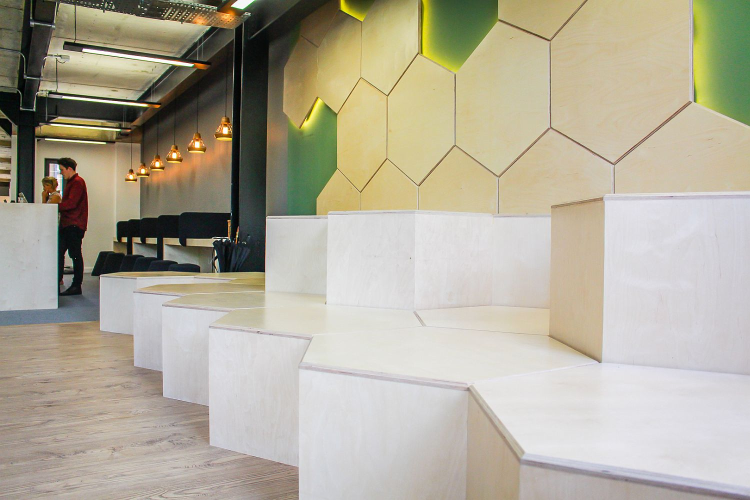 Hexagonal tiered seating for the office cafe area