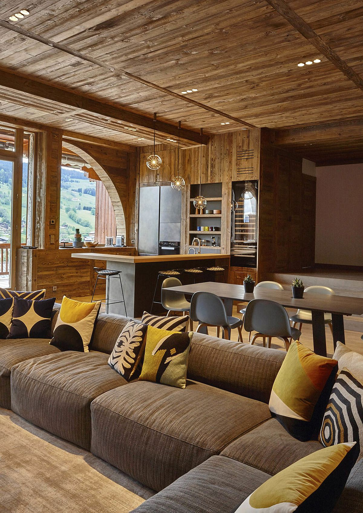 Hint of cottage style coupled with modernity at the Megeve home