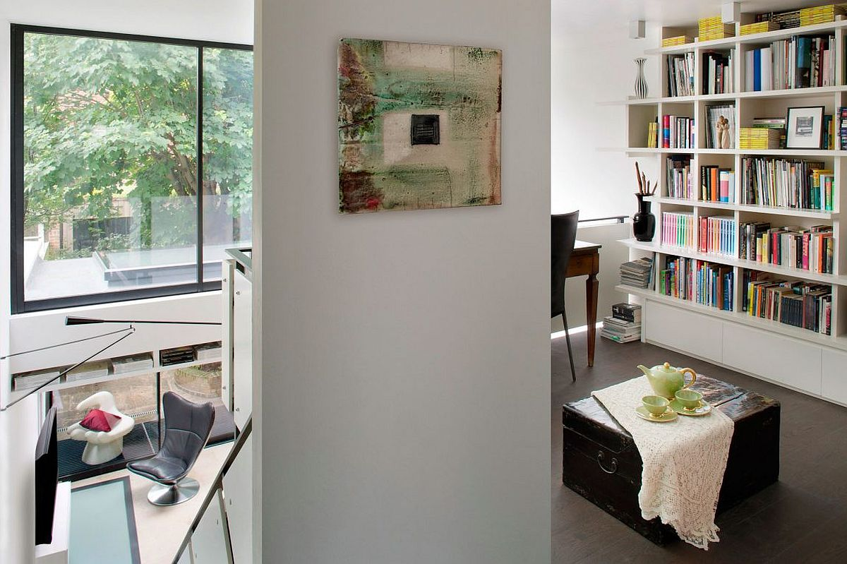 Home study with large bookshelf and a workdesk