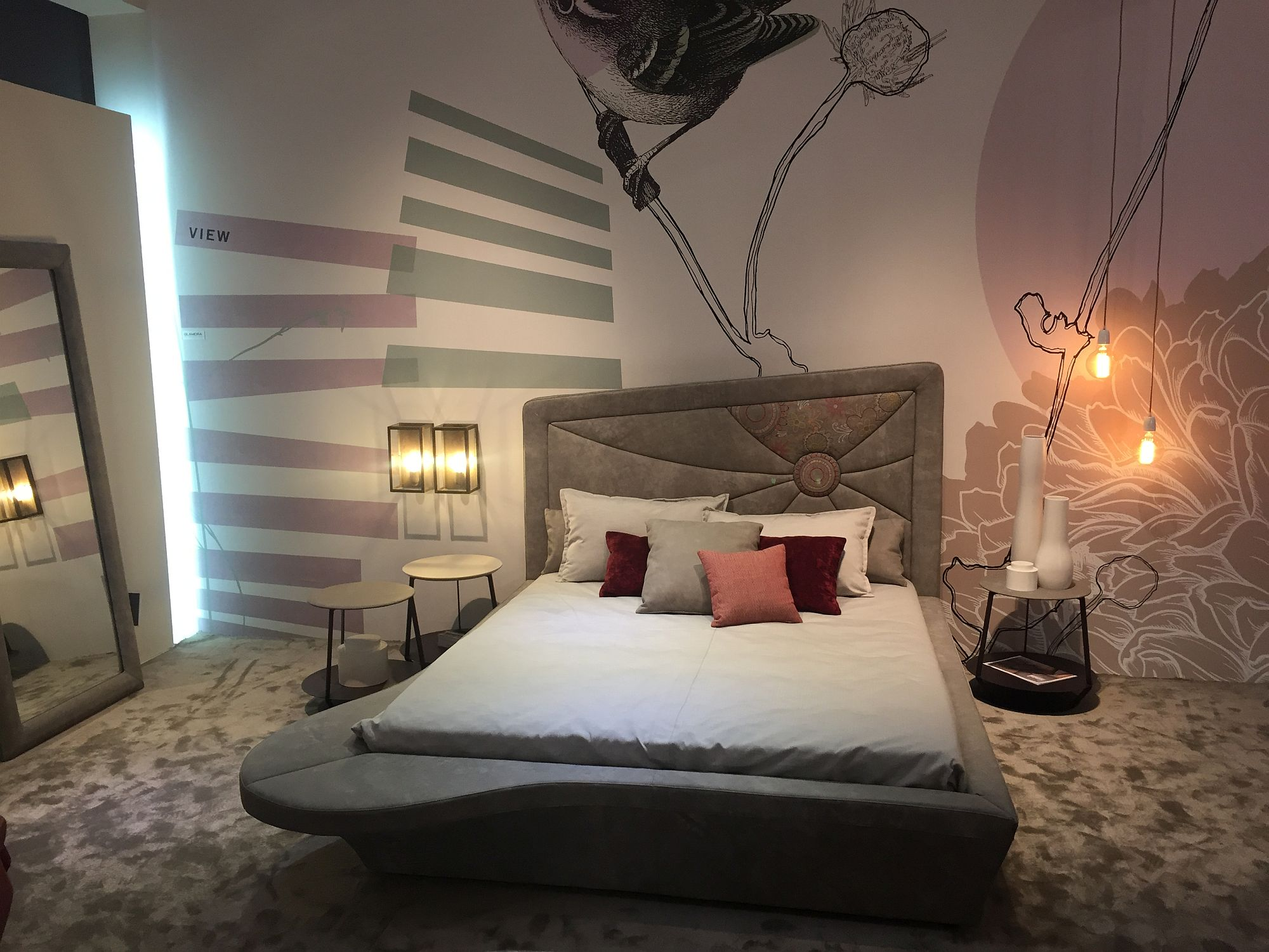 Ingenious bed design with headboard that offers an artistic twist