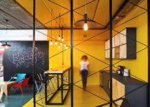 Ingenious office kitchen design in yellow 217x155 A World of Color and Creative Design: Modern Industrial Office in Armenia