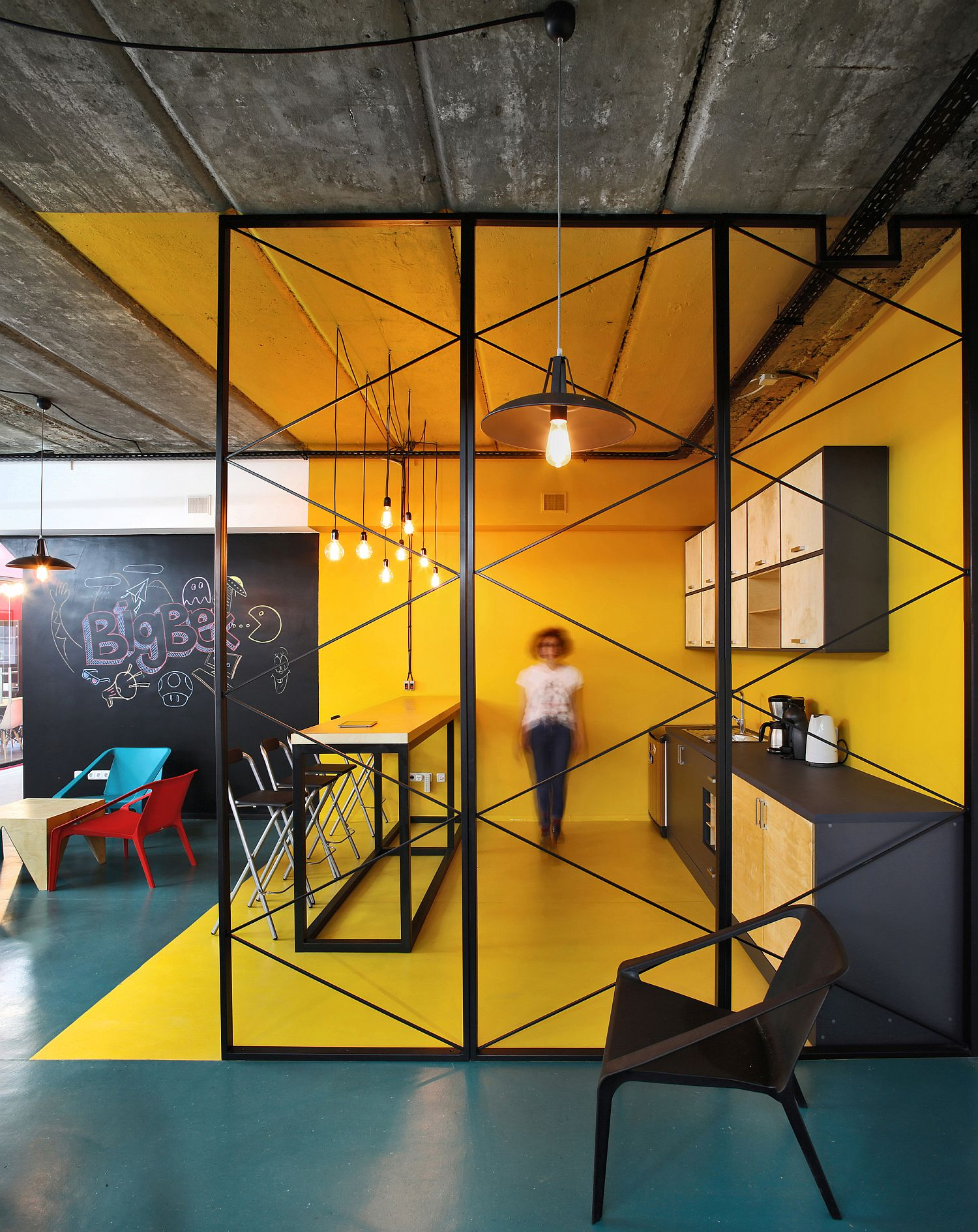Ingenious office kitchen design in yellow