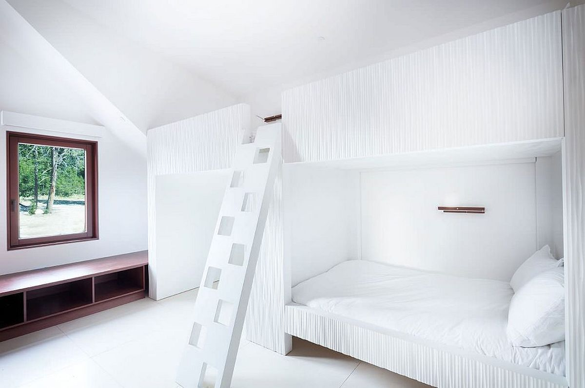 Kids' bedroom with bunk bed in white