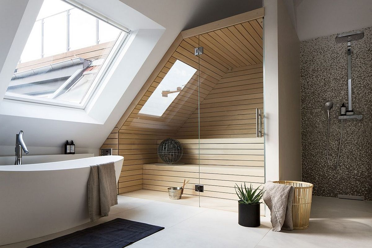 Lavish contemporary home bathroom and sauna
