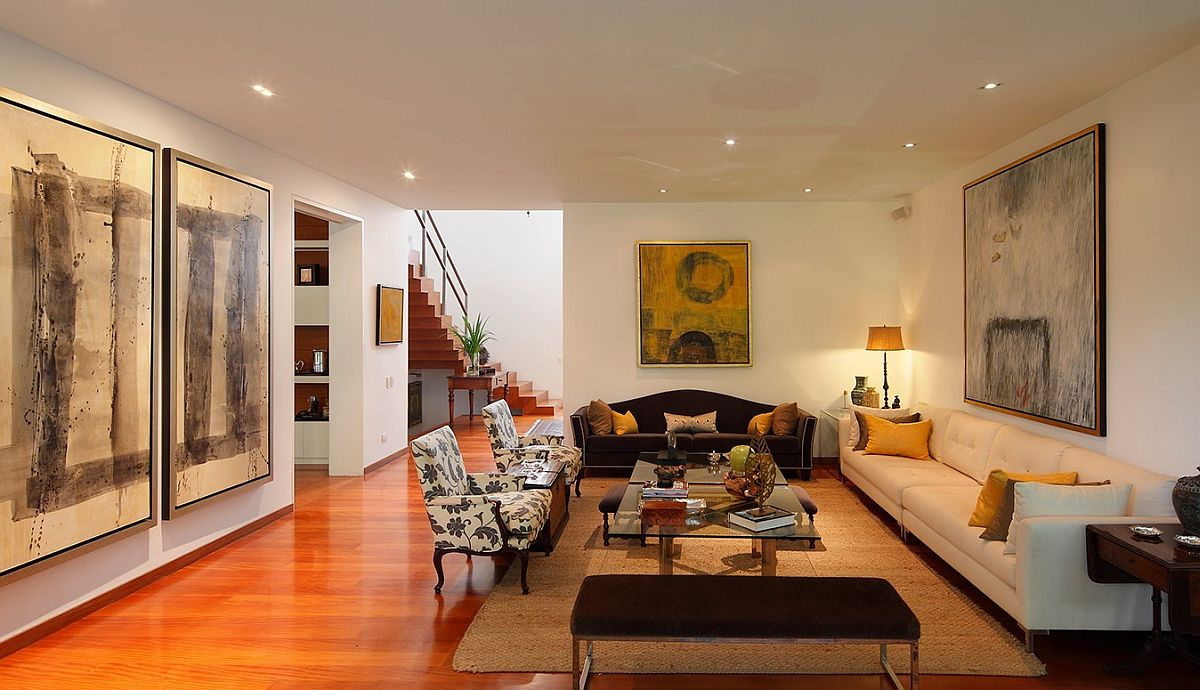 Living area of contemporary home in Lima, Peru with simple design and clean aesthetics