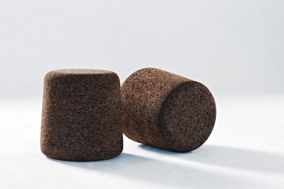 Low stools made from recycled dark cork